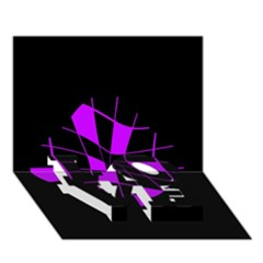 Purple Abstract Flower Love Bottom 3d Greeting Card (7x5)