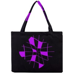 Purple Abstract Flower Mini Tote Bag by Valentinaart