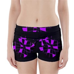 Purple Abstract Flower Boyleg Bikini Wrap Bottoms