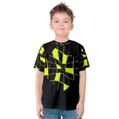 Yellow Abstract Flower Kid s Cotton Tee by Valentinaart