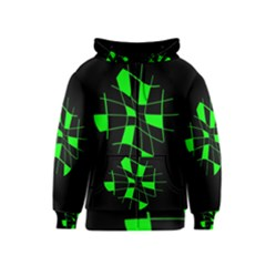 Green abstract flower Kids  Zipper Hoodie by Valentinaart
