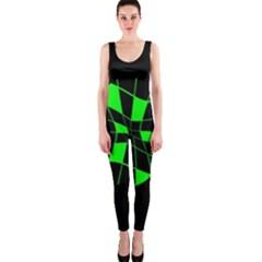 Green Abstract Flower Onepiece Catsuit by Valentinaart