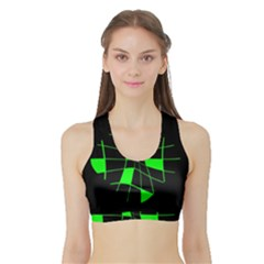 Green abstract flower Sports Bra with Border
