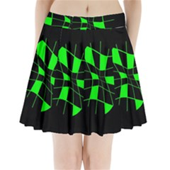 Green Abstract Flower Pleated Mini Mesh Skirt by Valentinaart