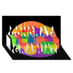 Colorful Circle  Congrats Graduate 3d Greeting Card (8x4)  by Valentinaart