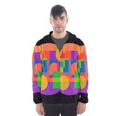 Colorful Circle  Hooded Wind Breaker (men) by Valentinaart