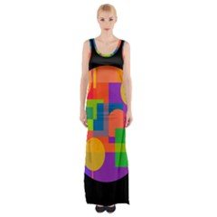 Colorful circle  Maxi Thigh Split Dress by Valentinaart