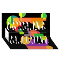 Colorful Abstraction Congrats Graduate 3d Greeting Card (8x4)  by Valentinaart