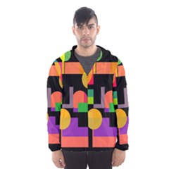 Colorful Abstraction Hooded Wind Breaker (men) by Valentinaart
