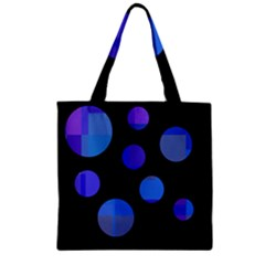 Blue Circles  Zipper Grocery Tote Bag by Valentinaart