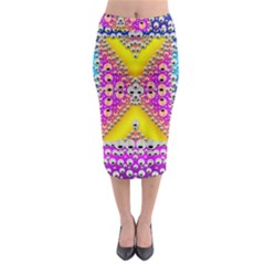 Music Tribute In The Sun Peace And Popart Midi Pencil Skirt by pepitasart