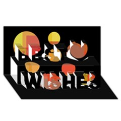 Orange Abstraction Best Wish 3d Greeting Card (8x4)