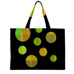 Green Abstract Circles Zipper Mini Tote Bag by Valentinaart