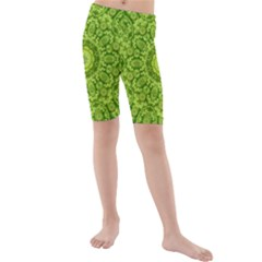 Magic Flowers In  The Deep Valley Of Paradise Kid s Mid Length Swim Shorts by pepitasart