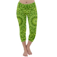 Magic Flowers In  The Deep Valley Of Paradise Capri Winter Leggings  by pepitasart