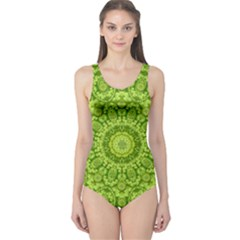 Magic Flowers In  The Deep Valley Of Paradise One Piece Swimsuit by pepitasart