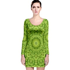 Magic Flowers In  The Deep Valley Of Paradise Long Sleeve Velvet Bodycon Dress by pepitasart