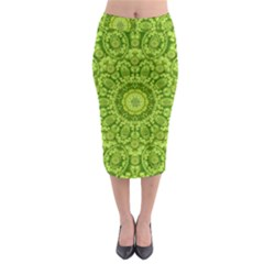 Magic Flowers In  The Deep Valley Of Paradise Midi Pencil Skirt by pepitasart