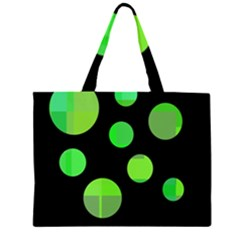Green Circles Zipper Large Tote Bag by Valentinaart
