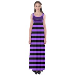 Purple Stripes Empire Waist Maxi Dress by ArtistRoseanneJones