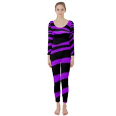Purple Zebra Long Sleeve Catsuit by ArtistRoseanneJones