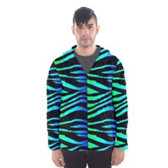Rainbow Zebra Hooded Wind Breaker (men) by ArtistRoseanneJones
