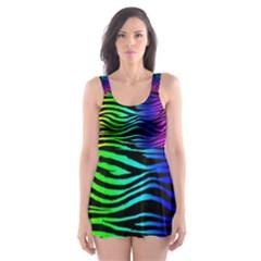 Rainbow Zebra Skater Dress Swimsuit by ArtistRoseanneJones