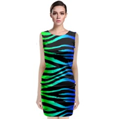 Rainbow Zebra Classic Sleeveless Midi Dress