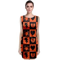 Goth Punk Checkers Classic Sleeveless Midi Dress by ArtistRoseanneJones