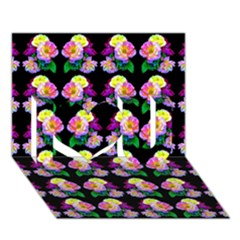Rosa Yellow Roses Pattern On Black I Love You 3d Greeting Card (7x5)  by Costasonlineshop