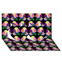 Rosa Yellow Roses Pattern On Black Twin Hearts 3d Greeting Card (8x4)  by Costasonlineshop
