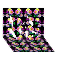 Rosa Yellow Roses Pattern On Black Love 3d Greeting Card (7x5)  by Costasonlineshop