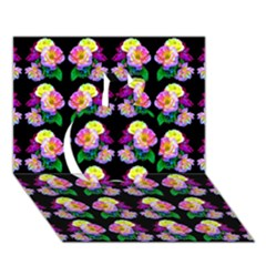 Rosa Yellow Roses Pattern On Black Apple 3d Greeting Card (7x5)  by Costasonlineshop