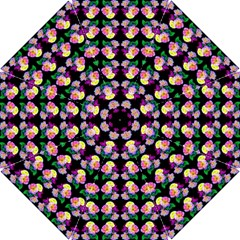 Rosa Yellow Roses Pattern On Black Hook Handle Umbrellas (small)
