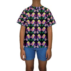 Rosa Yellow Roses Pattern On Black Kid s Short Sleeve Swimwear