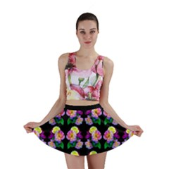 Rosa Yellow Roses Pattern On Black Mini Skirt by Costasonlineshop