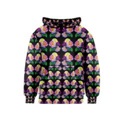 Rosa Yellow Roses Pattern On Black Kids  Pullover Hoodie