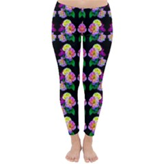 Rosa Yellow Roses Pattern On Black Winter Leggings  by Costasonlineshop