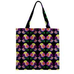 Rosa Yellow Roses Pattern On Black Zipper Grocery Tote Bag by Costasonlineshop
