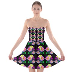 Rosa Yellow Roses Pattern On Black Strapless Dresses