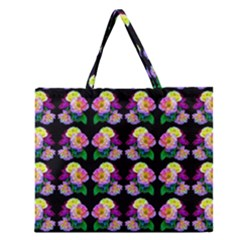 Rosa Yellow Roses Pattern On Black Zipper Large Tote Bag by Costasonlineshop