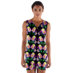 Rosa Yellow Roses Pattern On Black Wrap Front Bodycon Dress