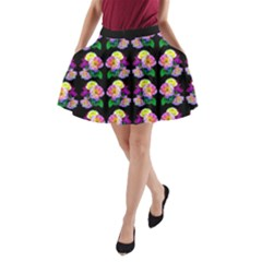 Rosa Yellow Roses Pattern On Black A Line Pocket Skirt by Costasonlineshop