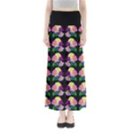 Rosa Yellow Roses Pattern On Black Maxi Skirts