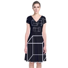 Simple Cube Short Sleeve Front Wrap Dress by Valentinaart
