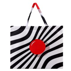 Abstract Red Ball Zipper Large Tote Bag by Valentinaart