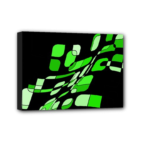 Green decorative abstraction Mini Canvas 7  x 5  by Valentinaart