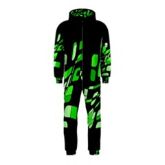 Green decorative abstraction Hooded Jumpsuit (Kids) by Valentinaart