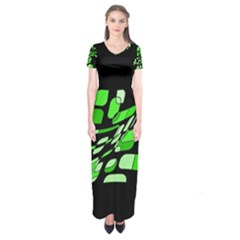 Green Decorative Abstraction Short Sleeve Maxi Dress by Valentinaart