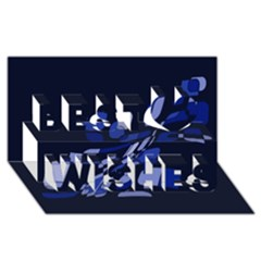 Blue Abstraction Best Wish 3d Greeting Card (8x4)